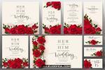 Vector thiệp cưới hoa hồng màu đỏ đẹp sang trọng mới nhất 2019