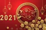 Vector background trâu vàng mừng năm mới Tân Sửu 2021