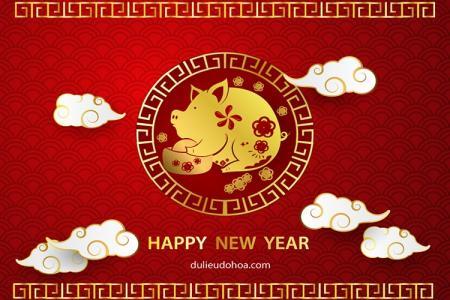 Banner Lợn vàng trang trí Tết Kỷ Hợi 2019