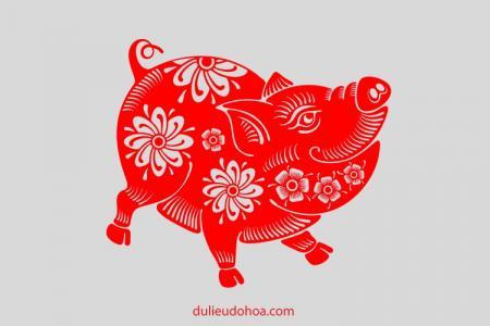 Vector Lợn trang trí tết cổ truyền 2019