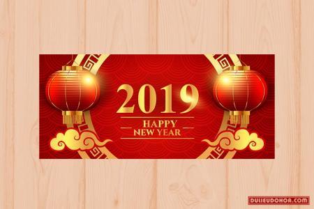Vector Tết 2019 - Vector banner chúc mừng năm mới 2019