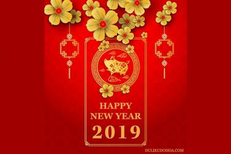 Vector Tết 2019 - Banner trang trí tết cổ truyền 2019