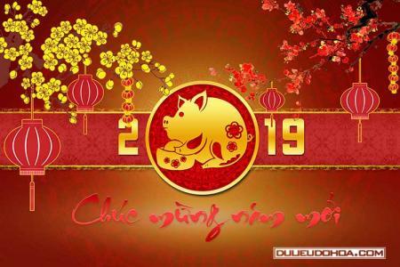 Tải miễn phí PSD mẫu phông nền chúc tết, năm mới 2019