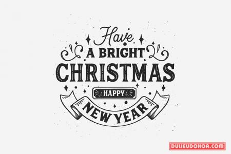 Vector giáng sinh - Typography Merry Christmas black