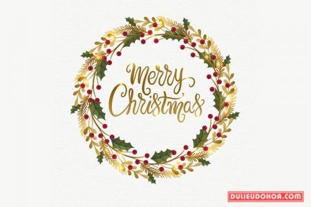 Vector giáng sinh - Typography vòng hoa Merry Christmas