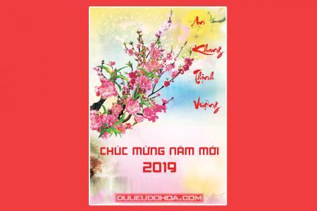Share file PSD thiệp tết hoa đào chúc mừng năm mới 2019
