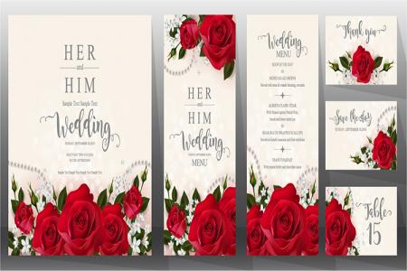 Download bộ vector thiệp cưới hoa hồng đỏ đẹp lung linh