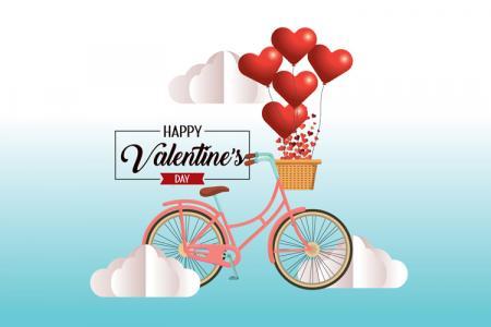 Vector tình yêu,  xe đạp chở trái tim lãng mạn cho lễ tình yêu Valentine
