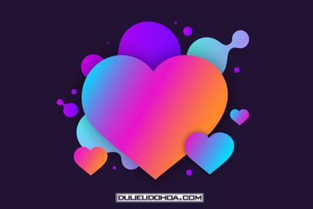 Free vector tình yêu, trái tim màu sắc 2019 tải miễn phí
