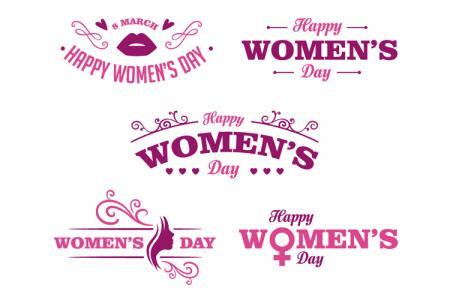 Share vector chữ Happy Women's Day đẹp hiện đại
