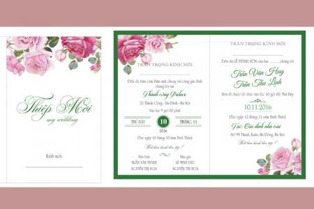 Vector thiệp cưới hoa hồng đẹp lãng mạn