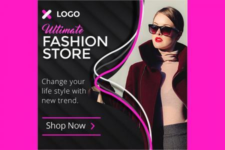 Free PSD Mockup mẫu banner quảng cáo thời trang cho Marketing đẹp