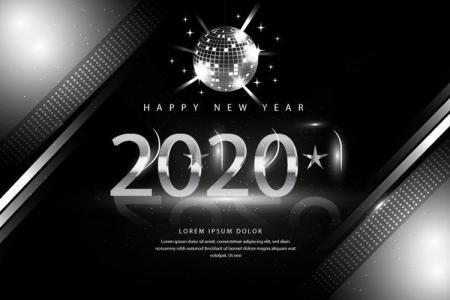 Vector Chúc Mừng Năm Mới 2020 Phong Cách Bạc Cực Đẹp