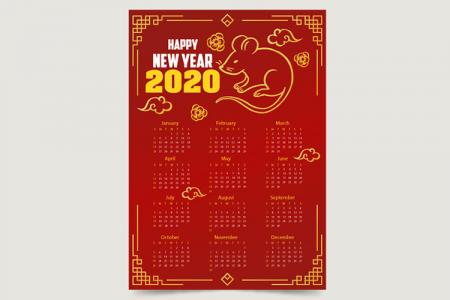 Free Download Vector Lịch Tết 2020 Đẹp, Vector Mẫu Lịch 2020 Cho Designer