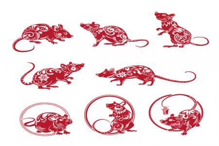 Vector Biểu Tượng Con Chuột Trang Trí Tết Canh Tý Cách Điệu Cực Đẹp