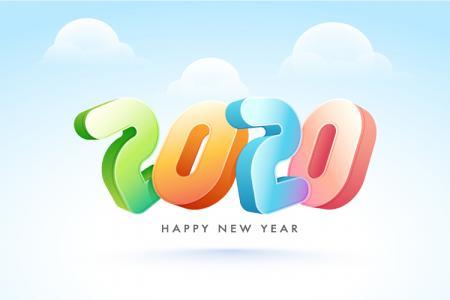Vector Background  Chúc Mừng Năm Mới 2020 3D