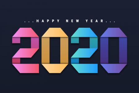 Vector Chúc Mừng Năm Mới 2020 Style Gấp Giấy Cực Đẹp