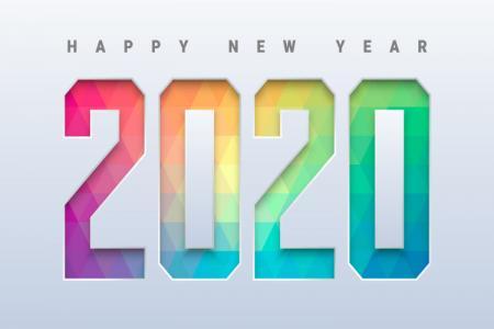 Vector Chúc Mừng Năm Mới 2020 Nền Poly Sắc Màu Cực Đẹp