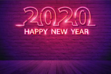 Download Vetor Banner, Background Năm Mới 2020 Neon Đẹp