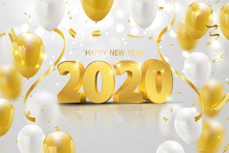Vector Chúc Mừng Năm Mới 2020 3D Download Miễn phí