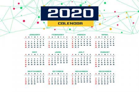 Lịch Năm 2020, Download Vector Lịch 2020 Miễn Phí