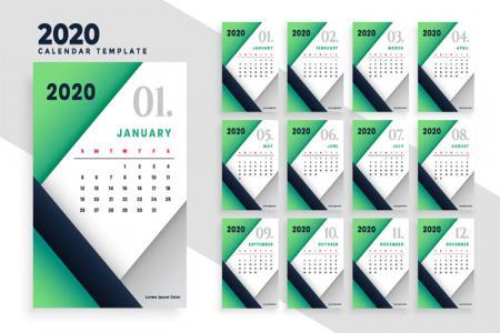Tải Vector Lịch 2020, Vector File Ai Lịch Năm Mới 2020 Miễn Phí