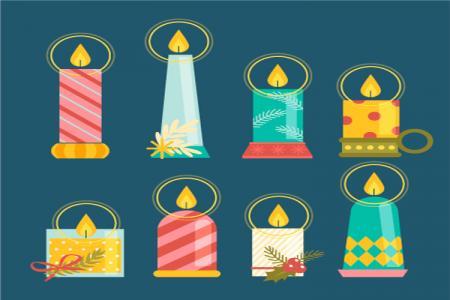 Vector Tổng Hợp Biểu Tượng Nến Trang Trí Giáng Sinh Noel