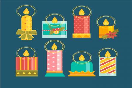 Vector Biểu Tượng Nến Trang Trí Giáng sinh, Top Vector Đẹp nhất