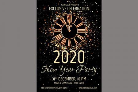 Vector Thiệp Mời Chúc  Mừng Năm Mới 2020 Download Free