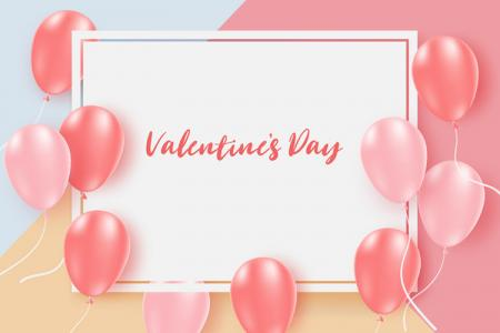 Download vector background valentine bóng bay