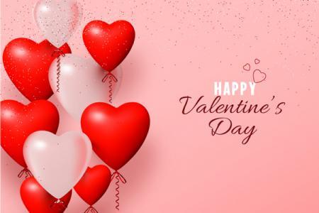 Download vector valentine bóng bay hình trái tim