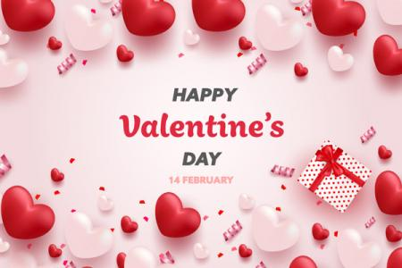 Vector valentine nền trái tim 3D đẹp lung linh