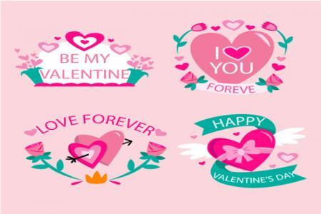 Vector biểu tượng chữ trang trí valentine đẹp miễn phí