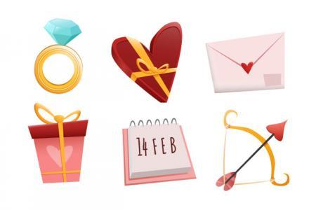 Vector biểu tượng icon trang trí valentine đẹp miễn phí