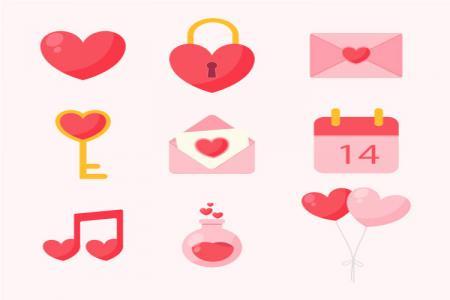 Download miễn phí vector icon trang trí valentine đẹp