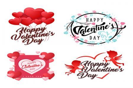 Vector biểu tượng trang trí valentine đẹp và lãng mạn
