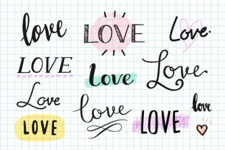 Vector chữ love uốn lượn trang trí valentine đẹp miễn phí