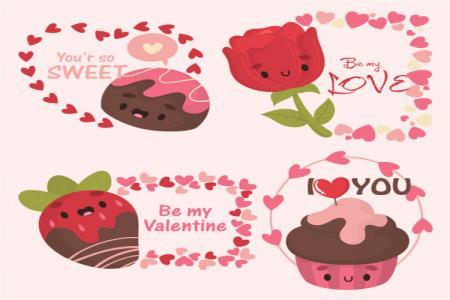 Download vector trang trí valentine đẹp miễn phí