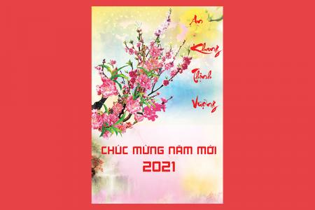 Share file PSD thiệp tết hoa đào chúc mừng năm mới 2021