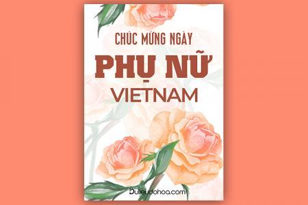 File PSD Photoshop thiệp hoa hồng chúc mừng ngày Phụ nữ Việt Nam