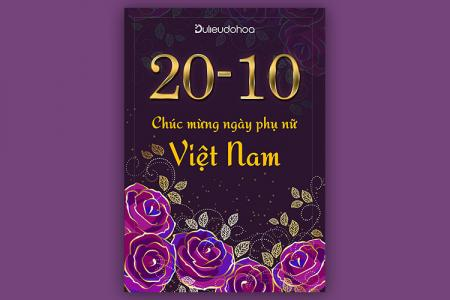 Tải PSD poster, background ngày Phụ nữ Việt Nam 20-10