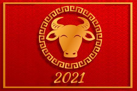 Vector tết 2021 -Vector trâu vàng 2021 đẹp miễn phí