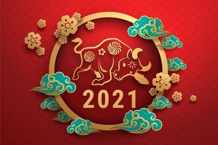 Miễn phí vector banner trâu vàng 2021 mừng tết Tân Sửu