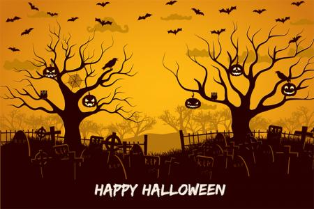 Vector background Halloween khu rừng rùng rợn
