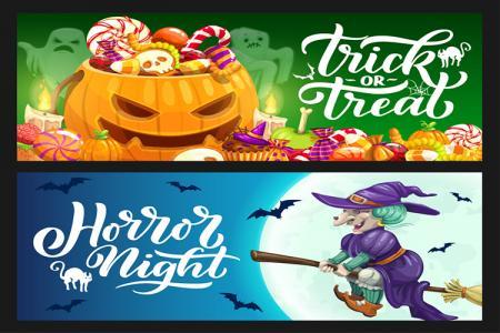 Mẫu vector background banner Halloween đẹp miễn phí