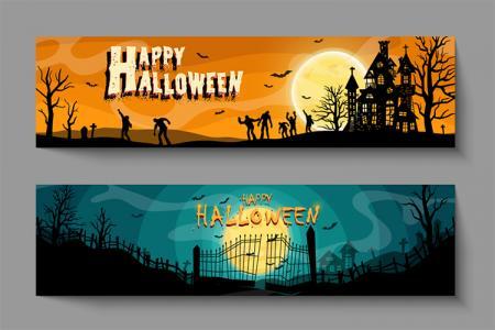Download miễn phí vector banner, ảnh bìa Halloween file AI tuyệt đẹp