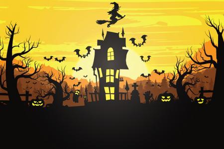 Tải miễn phí vector background nền Halloween với ngôi nhà ma quái