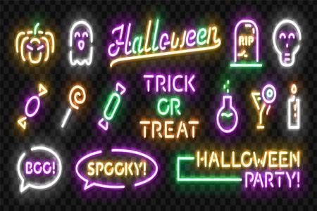 File vector chữ trang trí Halloween ánh sáng neon màu sắc