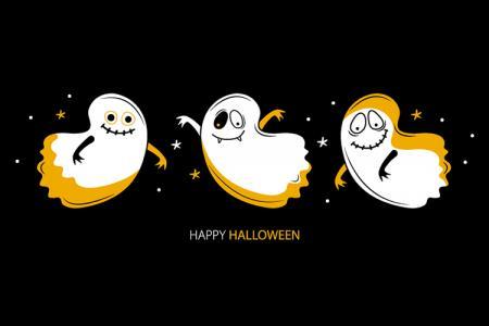 Mẫu vector đồ họa con ma Halloween ngộ nghĩnh