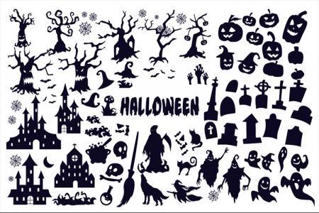 File vector icon Halloween màu đen bí ẩn